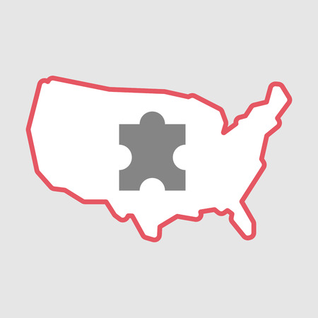 Illustration of an isolated line art  USA map icon with a puzzle piece
