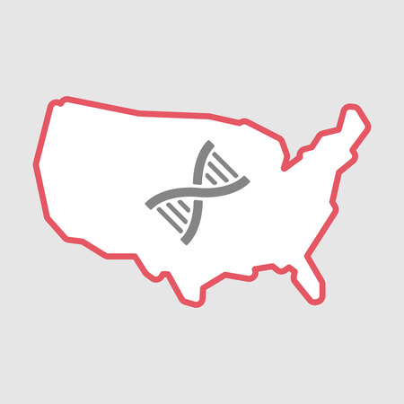 Illustration of an isolated line art  USA map icon with a DNA sign