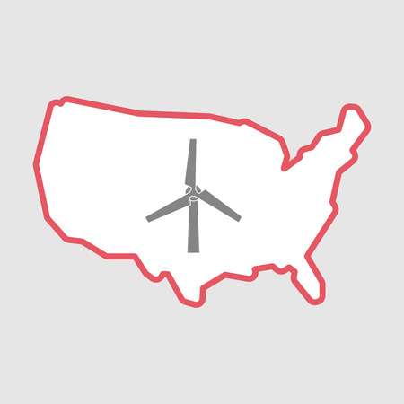 Illustration of an isolated line art  USA map icon with a wind turbine