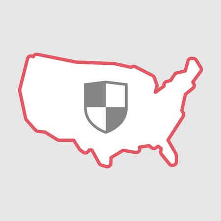 Illustration of an isolated line art  USA map icon with a shield Illustration