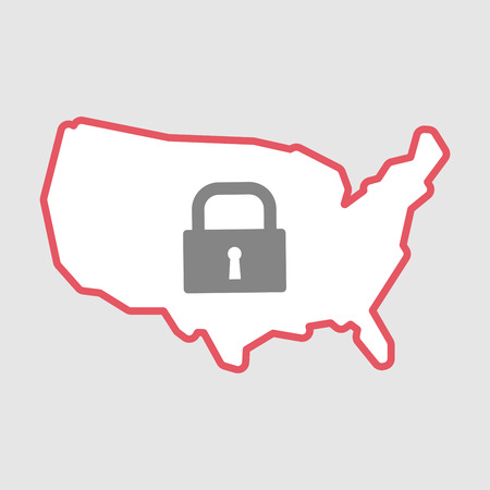Illustration of an isolated line art  USA map icon with a closed lock pad
