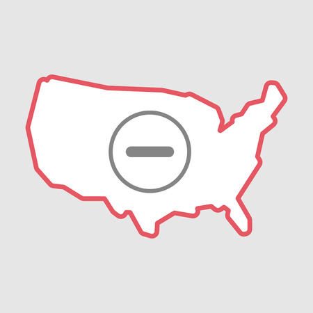 Illustration of an isolated line art  USA map icon with a subtraction sign