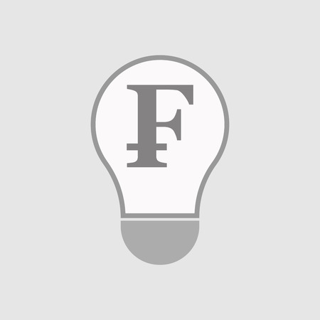 franc: Illustration of an isolated line art  light bulb icon with a swiss franc sign