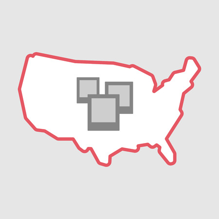 few: Illustration of an isolated line art  USA map icon with a few photos Illustration