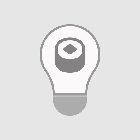 art piece: Illustration of an isolated line art  light bulb icon with a piece of sushi