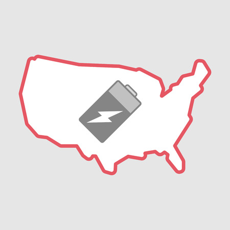 lithium: Illustration of an isolated line art  USA map icon with a battery Illustration