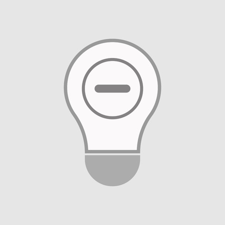 subtract: Illustration of an isolated line art  light bulb icon with a minus  sign