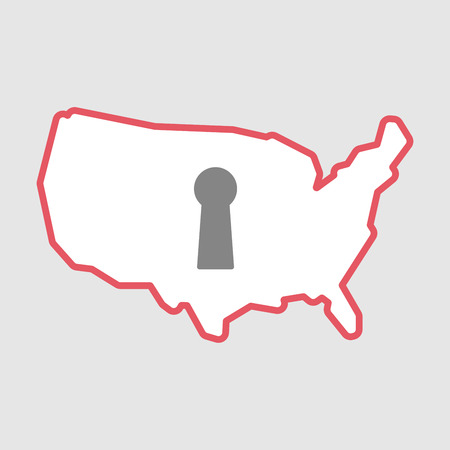 key hole: Illustration of an isolated line art  USA map icon with a key hole