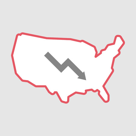 Illustration of an isolated line art  USA map icon with a descending graph Illustration