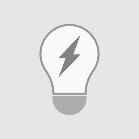 hit tech: Illustration of an isolated line art  light bulb icon with a lightning