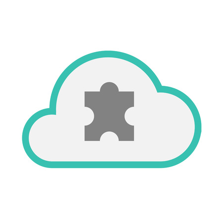 art piece: Illustration of an isolated line art  cloud icon with a puzzle piece