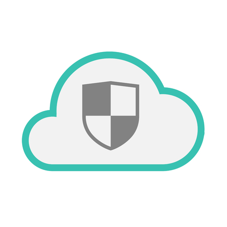 Illustration of an isolated line art  cloud icon with a shield Illustration