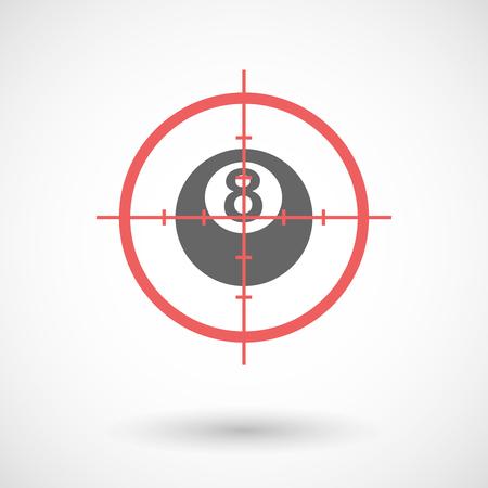 bola de billar: Ilustración de un icono de la línea de arte en forma de cruz aislada con una bola de billar Vectores