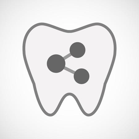 comunicacion oral: Ilustraci�n de un icono de diente aislado arte de l�nea con un signo de la red Vectores