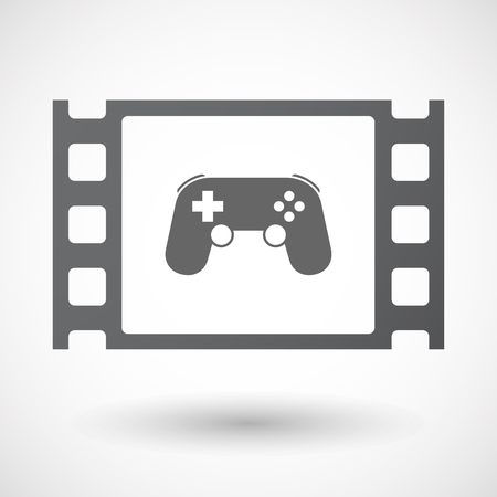 celluloid: Illustration of an isolated celluloid film frame icon with  a game pad Illustration