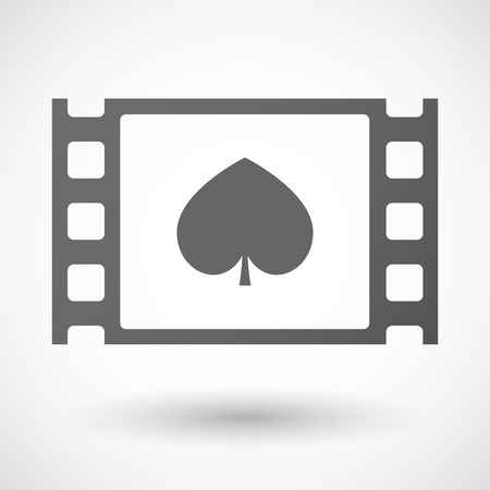celluloid: Illustration of an isolated celluloid film frame icon with  the  spade  poker playing card sign