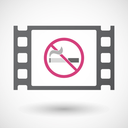 documentary: Illustration of an isolated celluloid film frame icon with  a no smoking sign