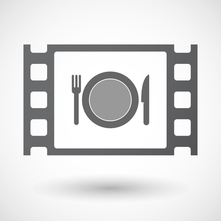 documentary: Illustration of an isolated celluloid film frame icon with  a dish, knife and a fork icon