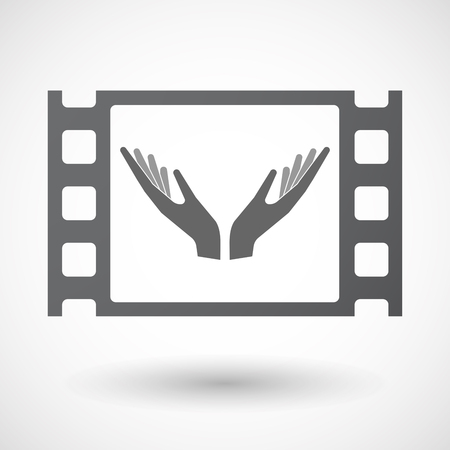 celluloid: Illustration of an isolated celluloid film frame icon with hands Illustration