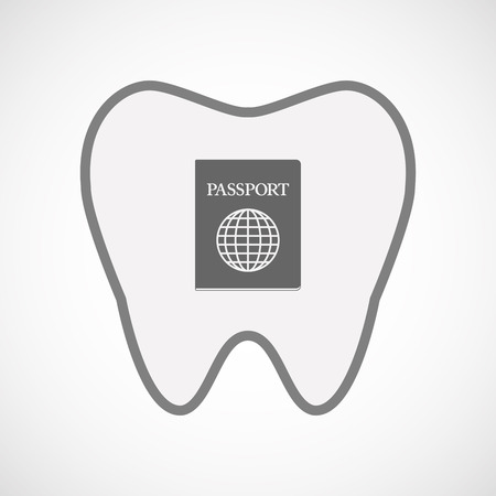 citizenship: Illustration of an isolated line art tooth icon with  a passport