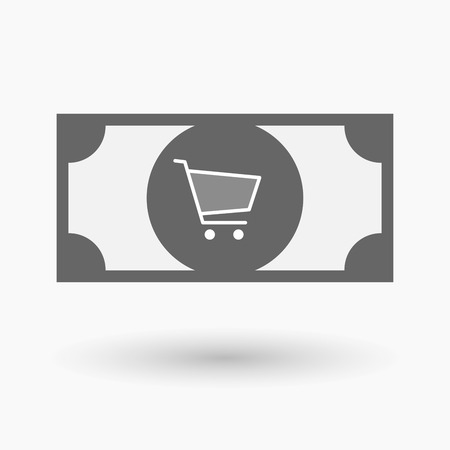 bank cart: Illustration of an isolated bank note icon with a shopping cart
