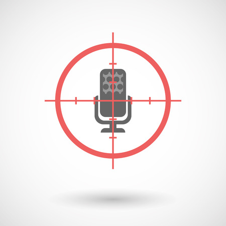 Illustration of an isolated  line art crosshair icon with  a microphone sign