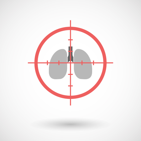 Illustration of an isolated  line art crosshair icon with  a healthy human lung icon