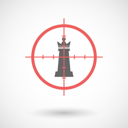 Illustration of an isolated  line art crosshair icon with a  queen   chess figure