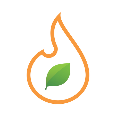 inferno: Illustration of an isolated line art flame icon with a green  leaf