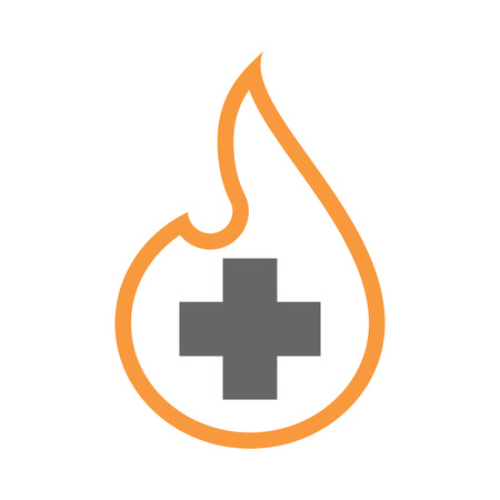 Illustration of an isolated line art flame icon with a pharmacy sign