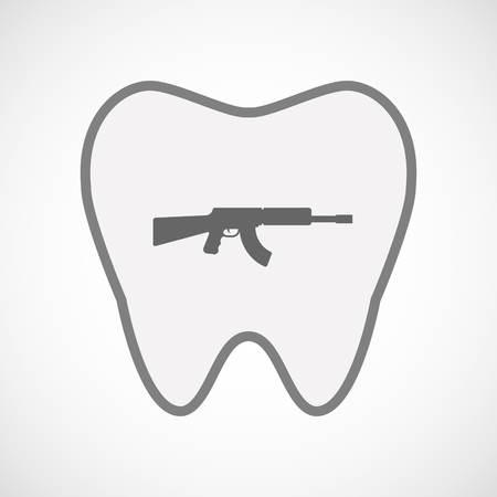 automatic rifle: Illustration of an isolated line art tooth icon with  a machine gun sign
