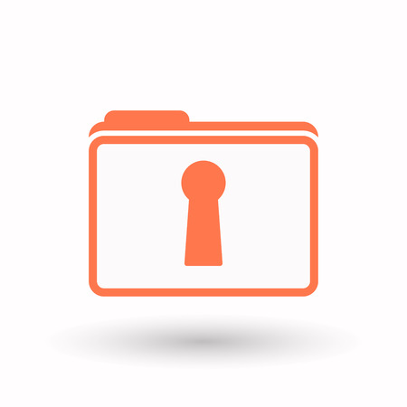 key hole: Illustration of an isolated line art  folder icon with a key hole