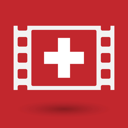 swiss flag: Illustration of an isolated celluloid film frame icon with   the Swiss flag Illustration
