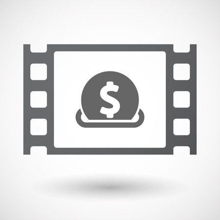 celluloid: Illustration of an isolated celluloid film frame icon with  a dollar coin entering in a moneybox