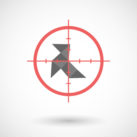 sniper crosshair: Illustration of an isolated  line art crosshair icon with  a paper bird