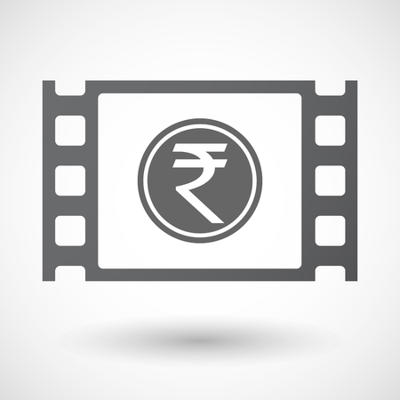 celluloid: Illustration of an isolated celluloid film frame icon with  a rupee coin icon