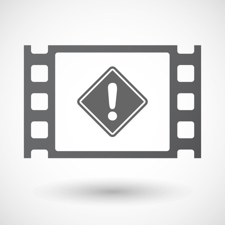 celluloid: Illustration of an isolated celluloid film frame icon with   a warning road sign