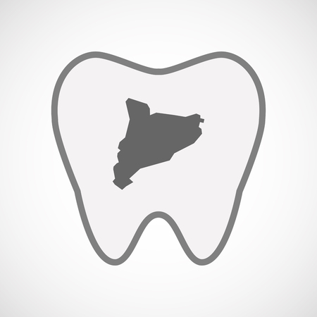 catalonia: Illustration of an isolated line art tooth icon with  the map of Catalonia