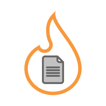 Illustration of an isolated line art flame icon with a document