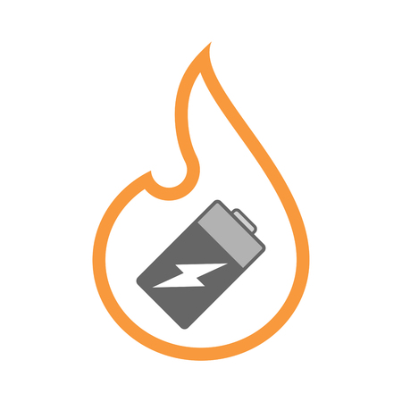 Illustration of an isolated line art flame icon with a battery