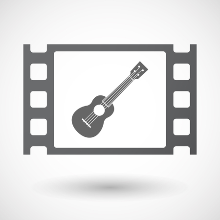 celluloid: Illustration of an isolated celluloid film frame icon with  an ukulele