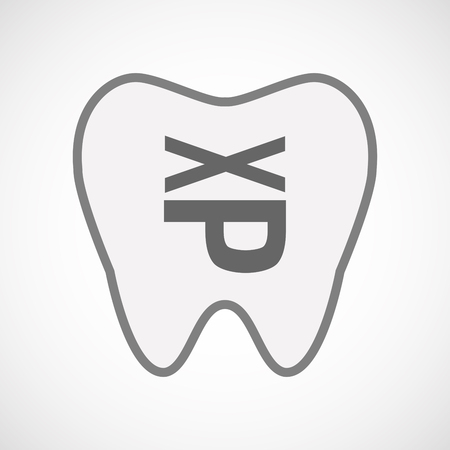 sticking: Illustration of an isolated line art tooth icon with  a Tongue sticking text face emoticon Illustration