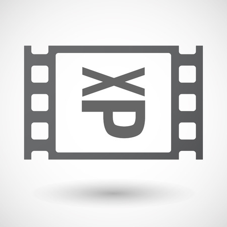 sticking: Illustration of an isolated celluloid film frame icon with  a Tongue sticking text face emoticon