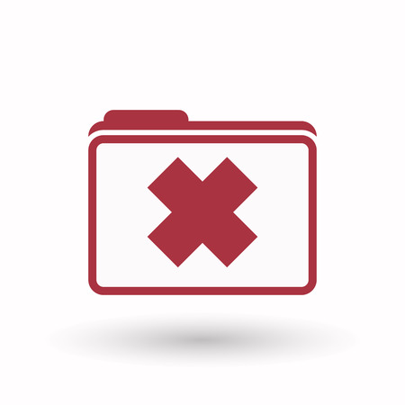 harmful to the environment: Illustration of an isolated line art  folder icon with a x sign