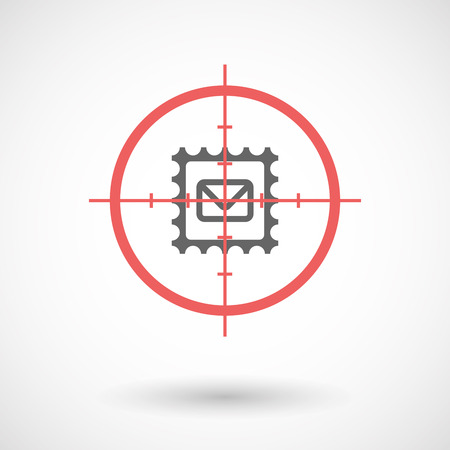 seal gun: Illustration of an isolated  line art crosshair icon with  a mail stamp sign Illustration