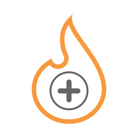 Illustration of an isolated line art flame icon with a sum sign