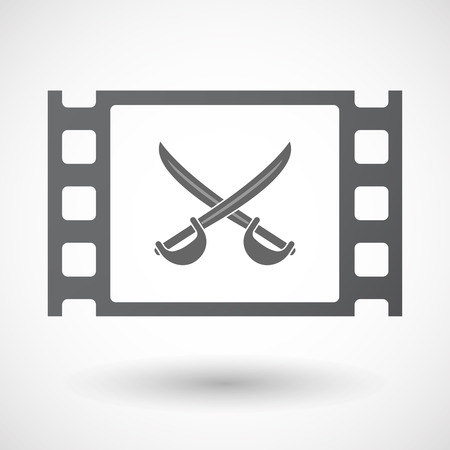 celluloid: Illustration of an isolated celluloid film frame icon with  two swords crossed