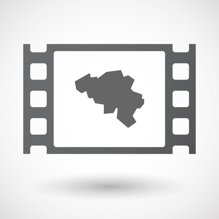 celluloid: Illustration of an isolated celluloid film frame icon with  the map of Belgium