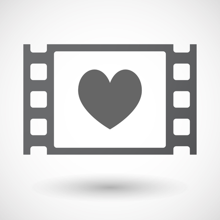 documentary: Illustration of an isolated celluloid film frame icon with  the heart poker playing card sign