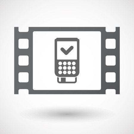 celluloid: Illustration of an isolated celluloid film frame icon with  a dataphone icon